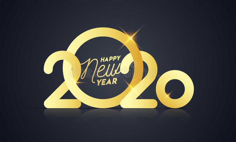 Golden Happy New Year 2020 Text with Lights Effect. On Black Background royalty free illustration
