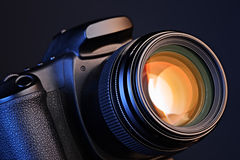 Camera with lens Royalty Free Stock Image